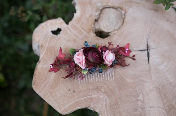 Blume Haare Kammen Blumen Rosa Bordeaux Fee Blumen Hochzeit Etsy