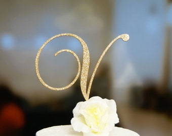 Personalized Monogram Wedding Cake Topper, Initial / Letter Cake Topper for Any Occasion: Bridal Shower, Anniversary, Birthday!