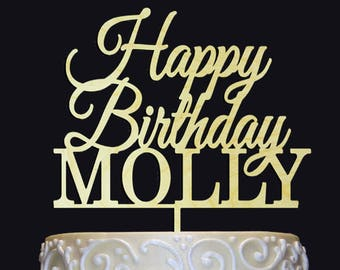 Happy Birthday Name Personalized Cake Topper, Any Age/ Anniversary Celebration, Birthday Gift, Rustic-Chic, Elegant, Centerpiece, Photo Prop