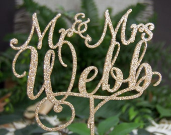 Personalized MR&MRS NAME Cake Topper - Wedding - Anniversary - Valentine Day Topper, Rustic Chic Wedding, Photo Prop, Center Piece, Elegant