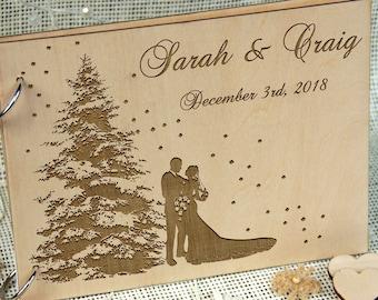 WINTER WEDDING Personalized Guest Book, Wedding-Anniversary-Bridal Shower Memory Book, Wedding Keepsake, Great Gift, Laser Engraved Wood.
