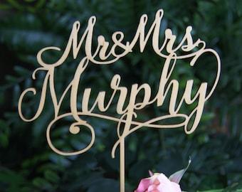 MR-MRS NAME Personalized Wedding Cake Topper, Bridal Shower/Wedding/Anniversary/Valentine Topper, Wedding Keepsake, Rustic Chic, Cake decor