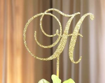 Personalized Monogram - Initial Letter Topper - Bridal Shower-Wedding-Anniversary-BD Cake Topper, Elegant Rustic-chic, Wedding Gift