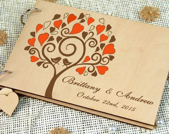 Unique personalized Wedding-Anniversary-Bridal shower guest book, Gift, Memory album, Laser engraved, Rustic theme, Wedding decor.