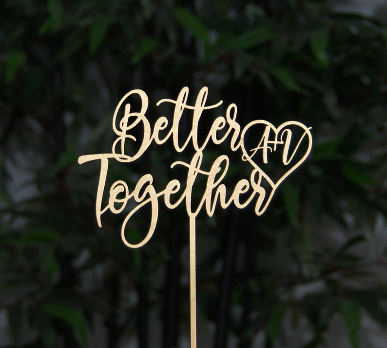 Better Together with Initials Wedding Cake Topper Bridal image 0