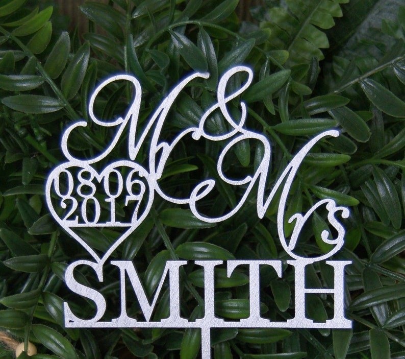 Personalized MR&MRS NAME with the Date Wedding Cake Topper image 0