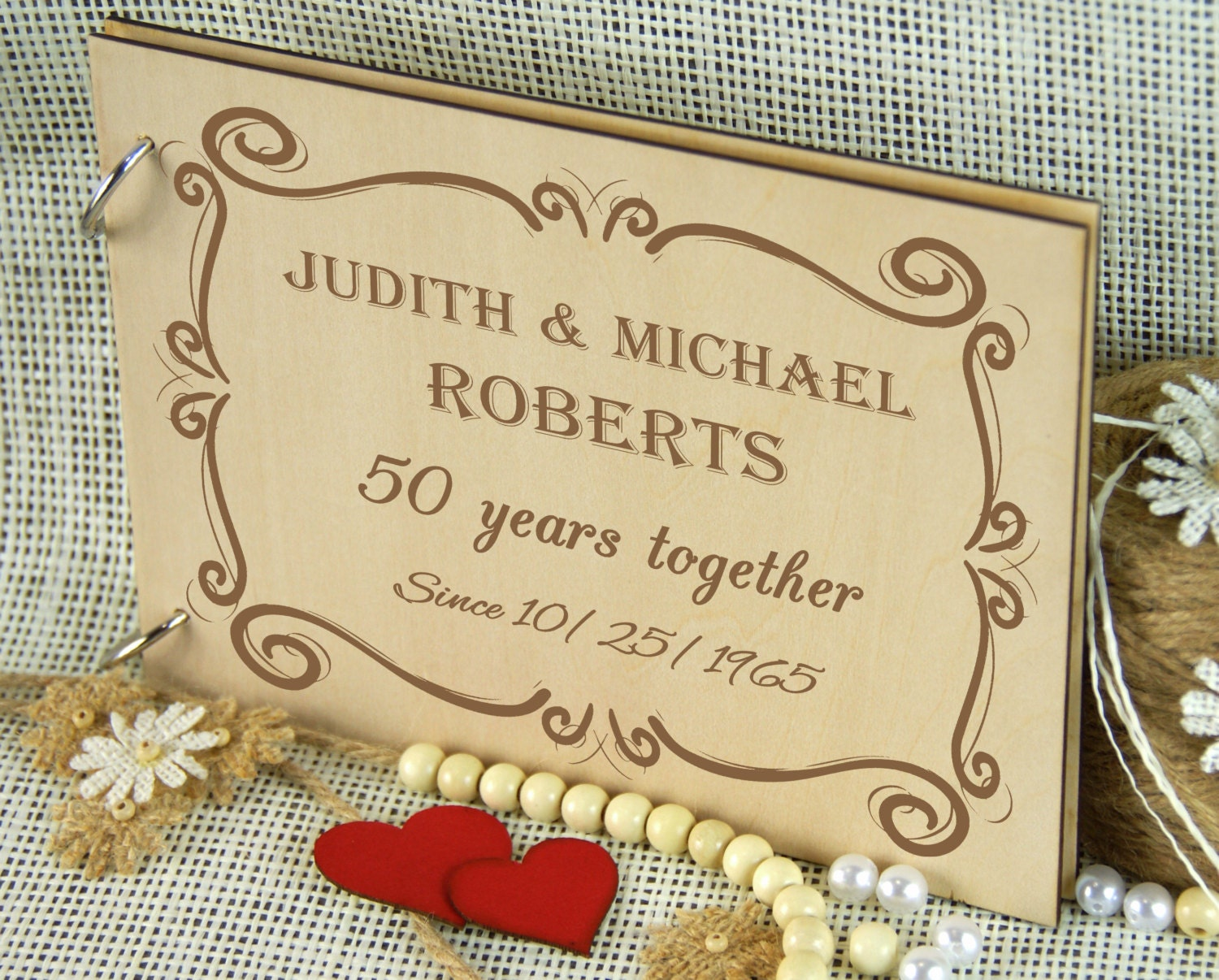50 Years Golden Anniversary Album Personalized Wedding Guest Etsy