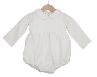 a770b845b52a Milk Linen Peter Pan Collar Full Length Sleeve Bubble Playsuit
