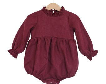 a8c89cc5d8 Burgundy Linen Baby Toddler Bohemian Bubble Playsuit
