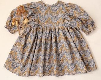 Aubrey Forest Mustard Puff Sleeve Dress