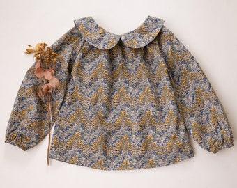 Aubrey Forest Mustard Long Sleeve Peter Pan Collar Blouse