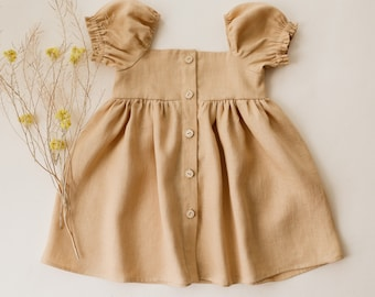 Melon Linen Button-Front Dress with Puff Sleeve