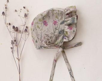 Flowers Bloom Linen Ruffle Brimmed Bonnet