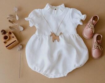 Milk Linen Short Sleeve Bohemian Bubble Playsuit, baby linen romper