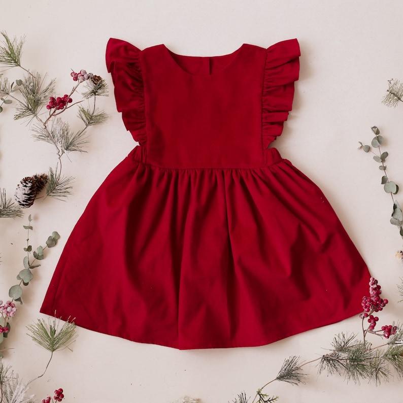 Strawberry Corduroy Frills Pinafore Dress image 0