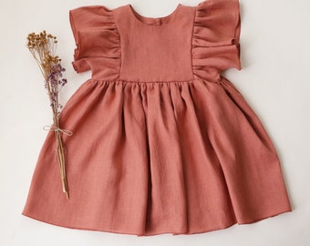 Rose Bouquet Linen Ruffle Sleeve Dress