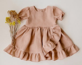 Clay Linen Dress with Ruffle Skirt (CHOICE OF COLORS)
