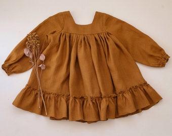 Caramel Linen Long Sleeve Dress with Ruffled Hem