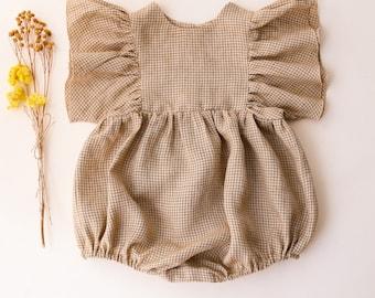 Brown Gignham Linen Ruffle Sleeve Bubble Playsuit