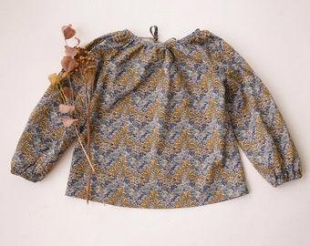 Aubrey Forest Mustard Long Sleeve Tie Back Blouse