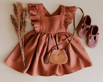 Rust Linen Vintage Dress (CHOICE OF COLORS)