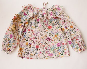 Garden Florals Long Sleeve Ruffle Collar Blouse