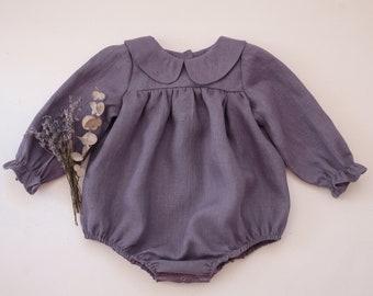 Lilac Linen Long Sleeve Babydoll Bodice Bubble Playsuit