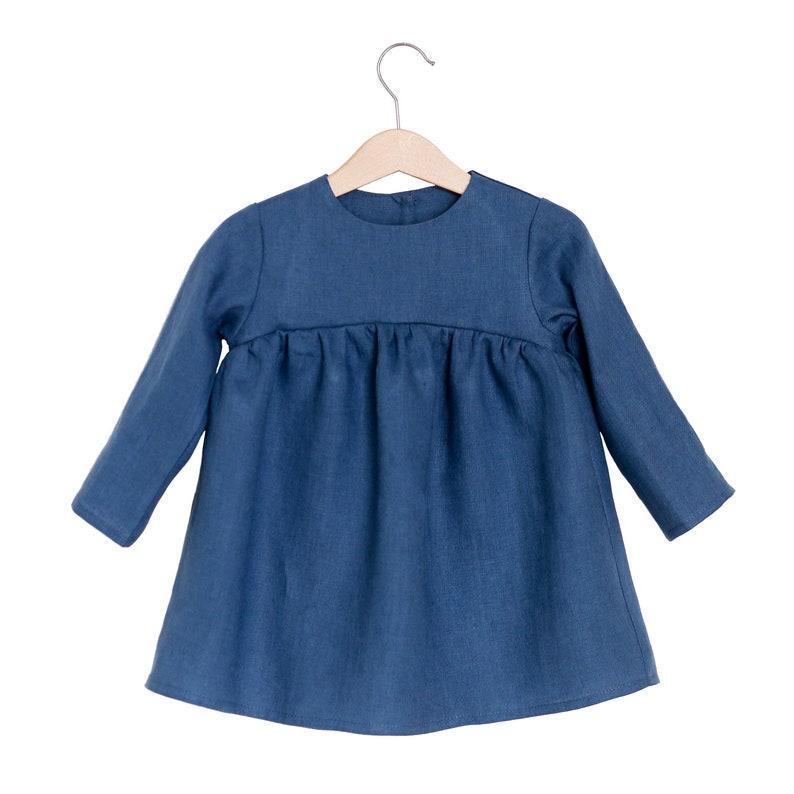 25835a25db Blueberry Linen Baby Toddler Girl Dress