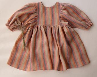 Peachy Rainbow Linen Puff Sleeve Dress