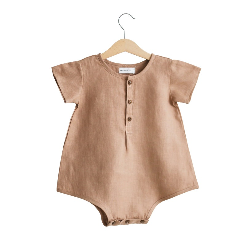 688f06349 Clay Linen Buttoned Playsuit
