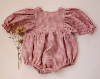 Powder Gingham Linen Puff Sleeve Bubble Playsuit