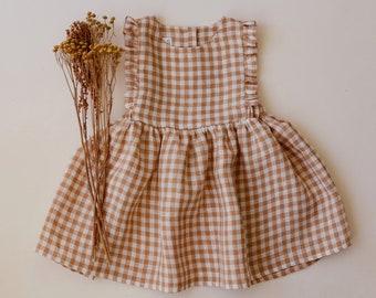 Beige Gingham Linen Ruffle Pinafore Dress