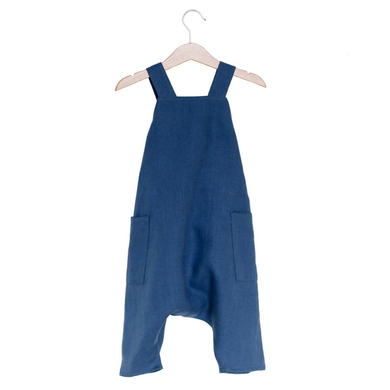 70a2a8ac74 READY TO SHIP Blueberry Linen Pocket Romper 12-18 months