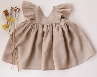 Beige Linen Flutter Dress