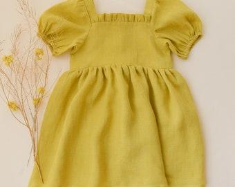 Lemon Gingham Linen Ruffle Neck Dress with Puff Sleeve