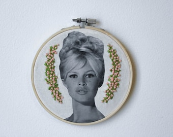 Embroidered Brigitte Bardot Hoop Little Pink Floral