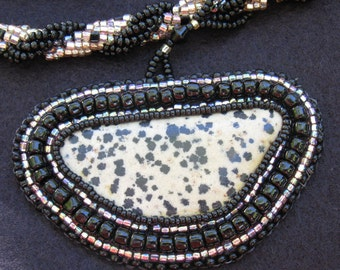 Leopard Jasper Cabochon with Double Spiral Necklace
