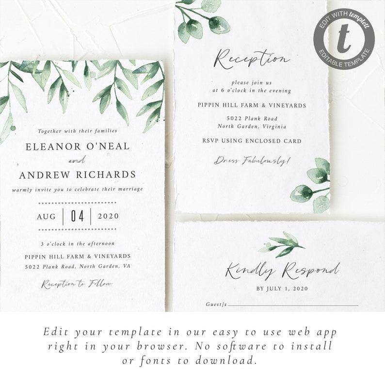 Elegant Wedding Invitation Set  Rustic Wedding Suite with Eucalyptus Greenery  Editable Printable Template  INSTANT DOWNLOAD #007
