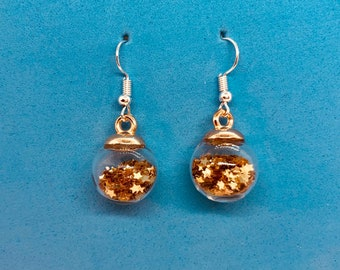 Glass Bauble Earrings filled with candy or or stars