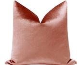 Faux Silk Velvet Rose Gold Pillow COVER ONLY rose gold velvet pillow rose gold pillow pink throw pillow silk pillow