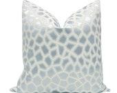 Faux Silk Safari Mist pillow COVER ONLY animal print giraffe print designer fabric home decor soft blue faux silk pale blue
