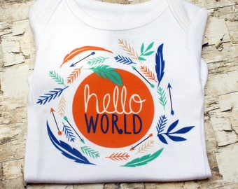Twin Onesies, Hello World Onesie, Coming Home Outfit, Twin Outfits, Twin Baby Gift,  Neutral Baby Clothes, Things for Twins