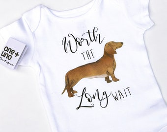 9dd3fd367 Worth The Long Wait, Worth The Wait, Dachshund Bodysuit, Baby girl One  piece, Worth The Wait Onesie®, Dachshund Onesie® , Doxie Baby Clothes
