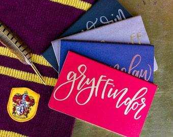 """Hogwarts House  Journal. Embossed. Moleskine Journal. Calligraphy Font. Hand Lettered. Custom. Harry Potter. 5"""" x 8.25"""""""