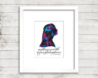 Anything's possible if you've got enough nerve. Ginny Weasley. Harry Potter. Calligraphy Quote. Fred & George Weasley. HP. Watercolor Print.