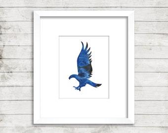 Ravenclaw. Harry Potter. Hogwarts House. Minimal. Watercolor. Art Print. Office Décor. Nursery Décor.