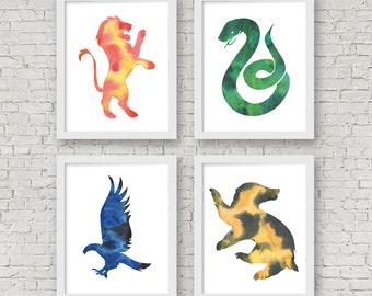 Harry Potter. Hogwarts Houses. Ravenclaw. Slytherin. Gryffindor. Hufflepuff. Minimal. Watercolor. Art Print. Office Décor. Nursery Décor.