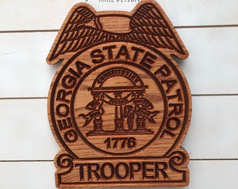Georgia State Police Personalized Police Badge or Patch // State Trooper Police Retirement // Police Gift