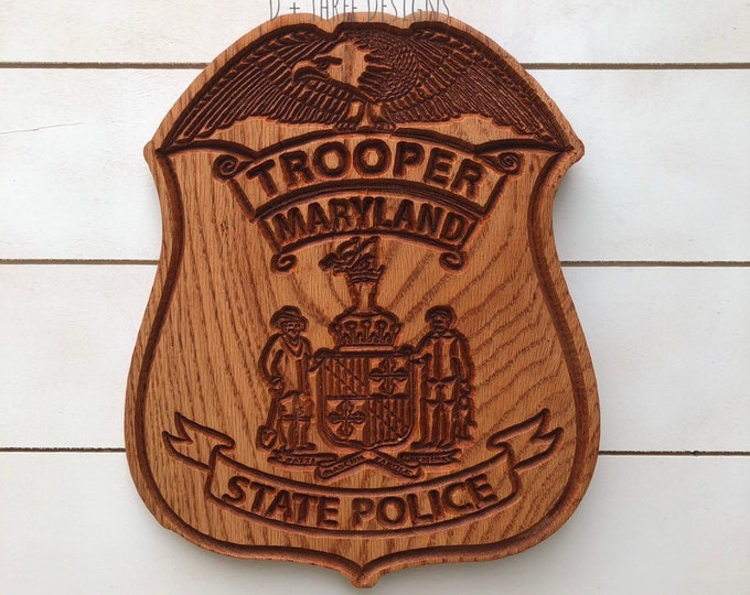 Maryland State Police Personalized Police Badge or Patch // State Trooper Police Retirement // Police Gift