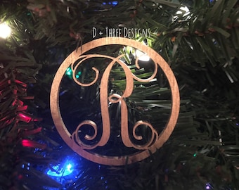 "Small 4"" Circle Wooden Monogram Initial"